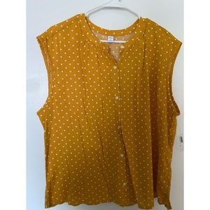 Old Navy Sleeveless Yellow Polka Dot Button Up XL